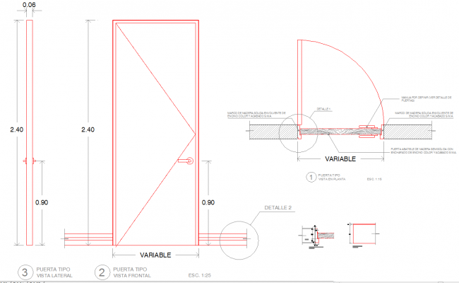 Wooden Door Detail Cad Files