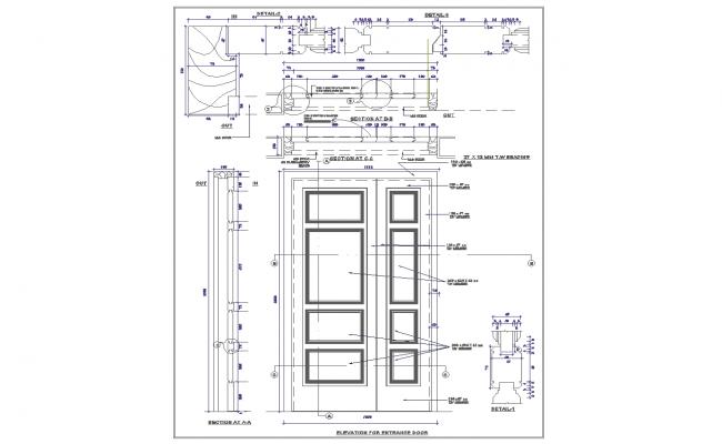 Wood Door Details : Door detail curtain wall plan integralbook