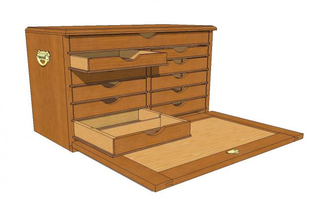 Wooden drawer tool 3d chest cad drawing details skp file