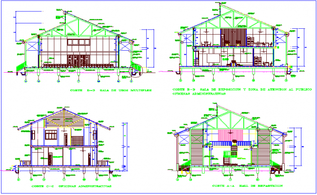 Wooden house design with detail of sectional view dwg file