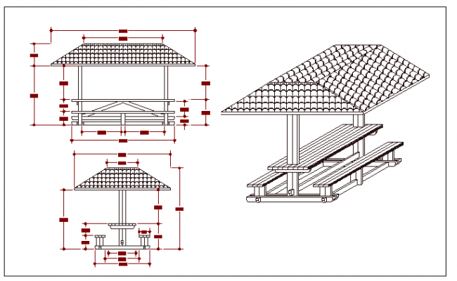 Wooden pergola elevation and sectional details dwg file