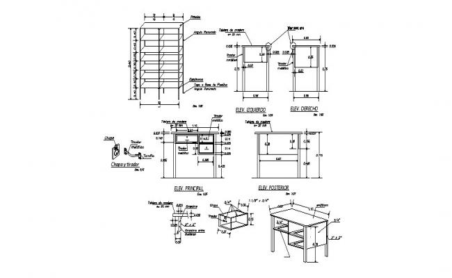 Wooden table, book case and cabinet furniture auto-cad details dwg file