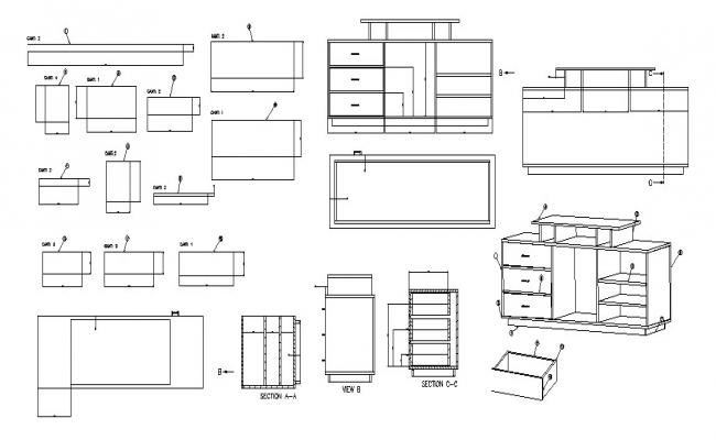 Wooden television cabinet elevation, plan and auto-cad details dwg file