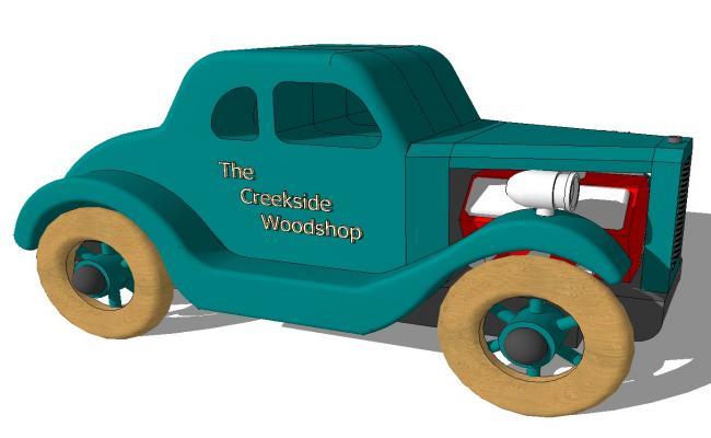 Wooden toy hot road car 3d side elevation cad block details skp file