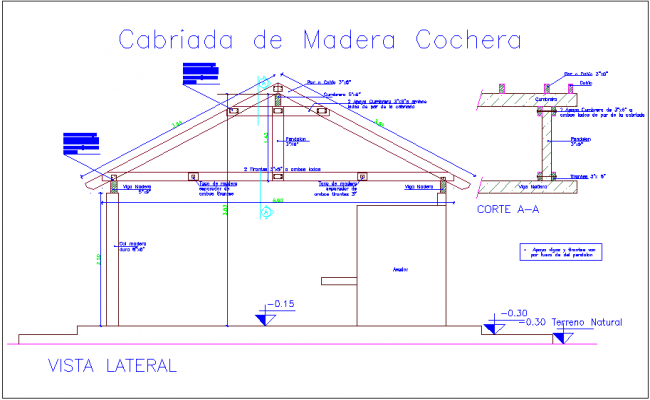 Wooden truss design with dimension and detail view dwg file