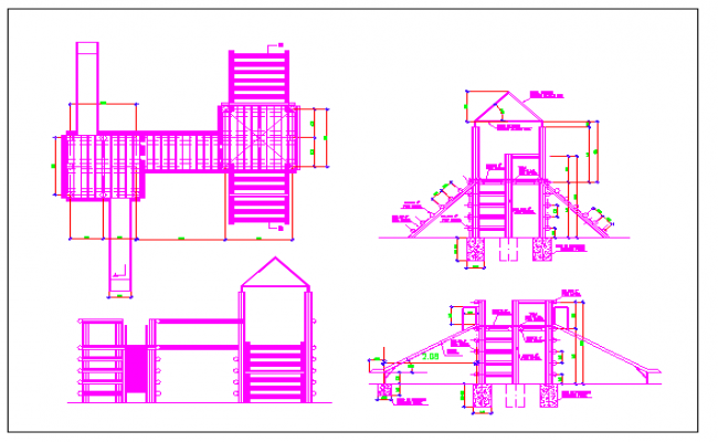 Wooden turret playground equipment details dwg file