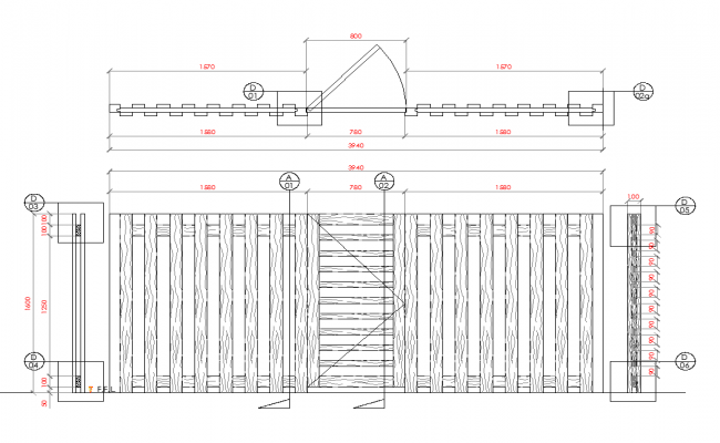 Wooden wall detail dwg file