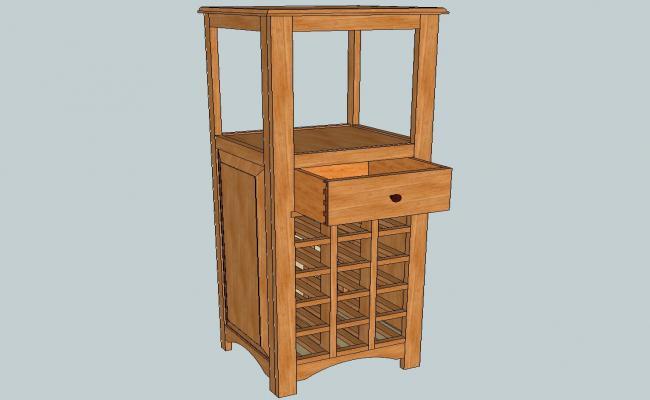 Wooden wine bottle cabinet 3d elevation cad drawing details skp file