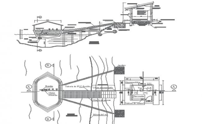Work of floating intake in river plan detail dwg file