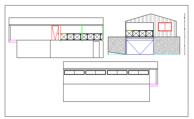 Work shop all sided elevation dwg file