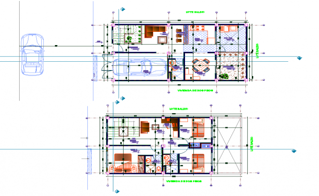 Working Home planning detail autocad file