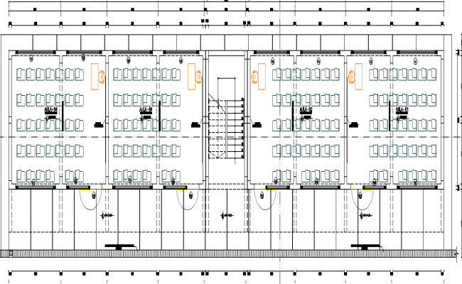 Working commercial plan and elevation detail dwg file