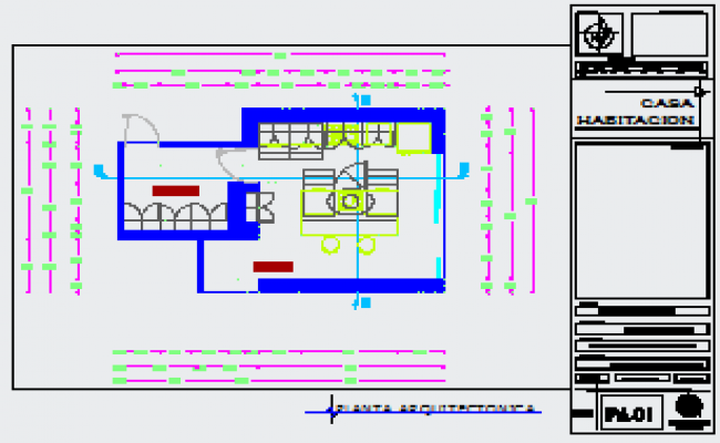 Working design drawing of kitchen detailing