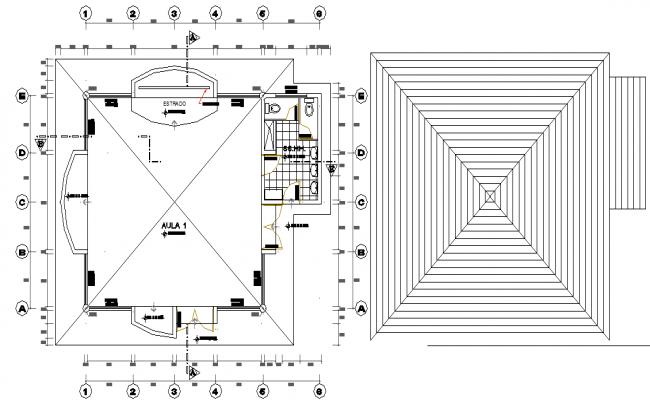 Working plan detail and roof plan detail dwg file