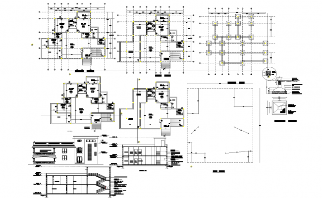 Working plan for one family house detail dwg file,