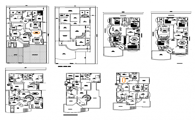 Working plan of residential housing building 2d view layout autocad file