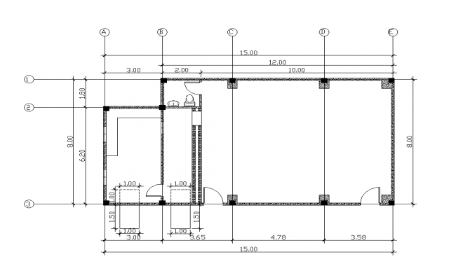Working plan of the Commercial hall building 2d view layout file