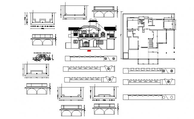 Working plan of the bungalow with elevation in AutoCAD