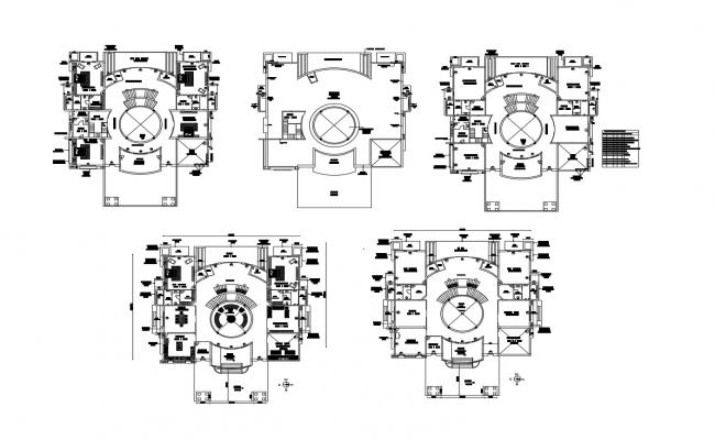 Working plan of the villa with detail dimension in AutoCAD