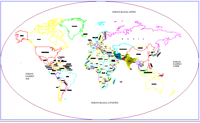 world map architecture project dwg file