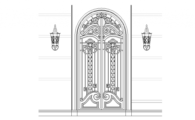 Wrought iron door elevation
