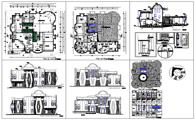 Youth association Building plan and elevation view