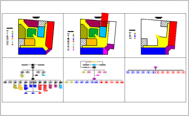 Zoning of municipal building floor plan by color code dwg file