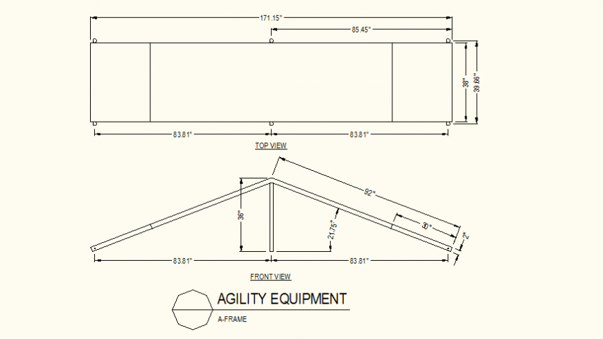 A-Frame agility equipment detail elevation dwg file