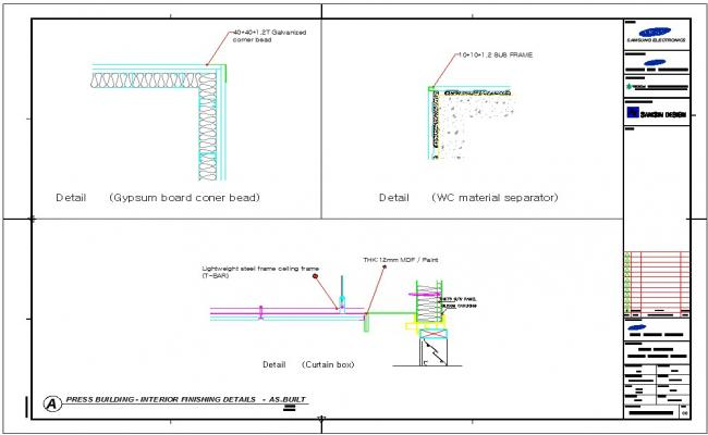 Ceiling sections plan
