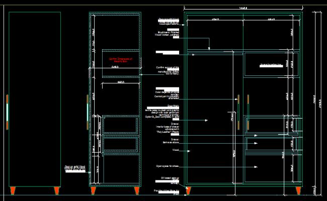 Wardrobe Plan Elevation Section : Wardrobe