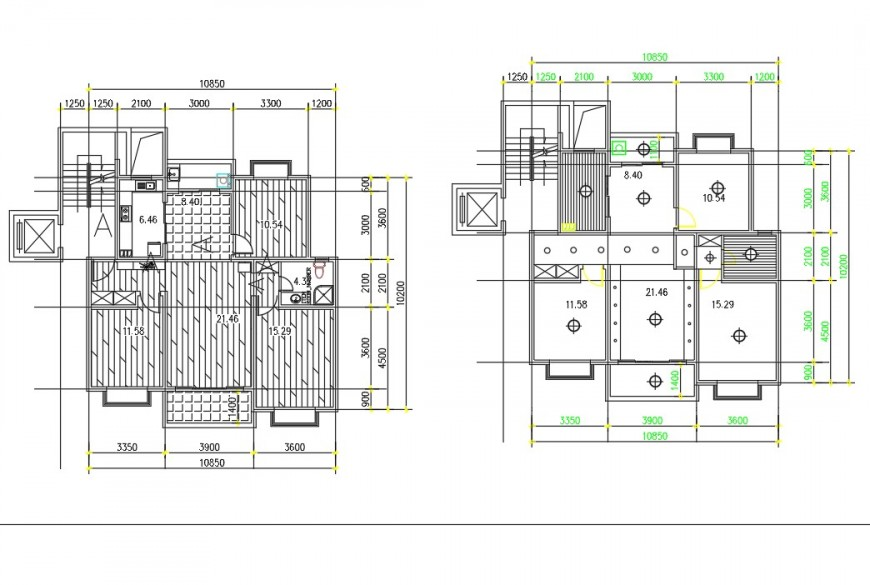 A 3 BHK house plan autocad file