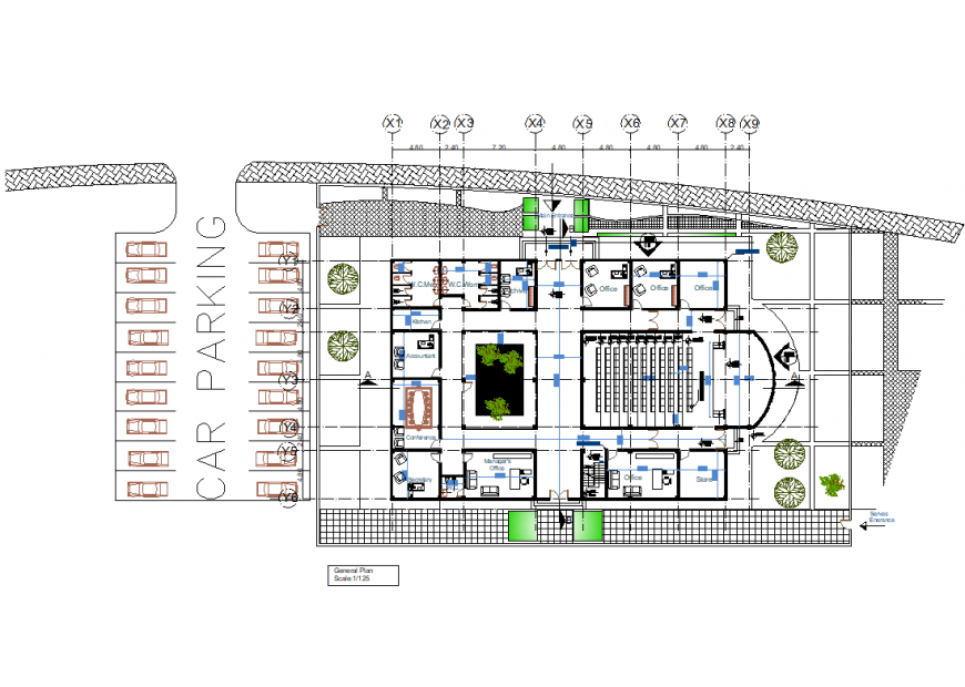 A Administration building working plan detail dwg file