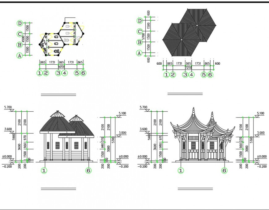 A Ancient latrine construction plan and elevation layout file