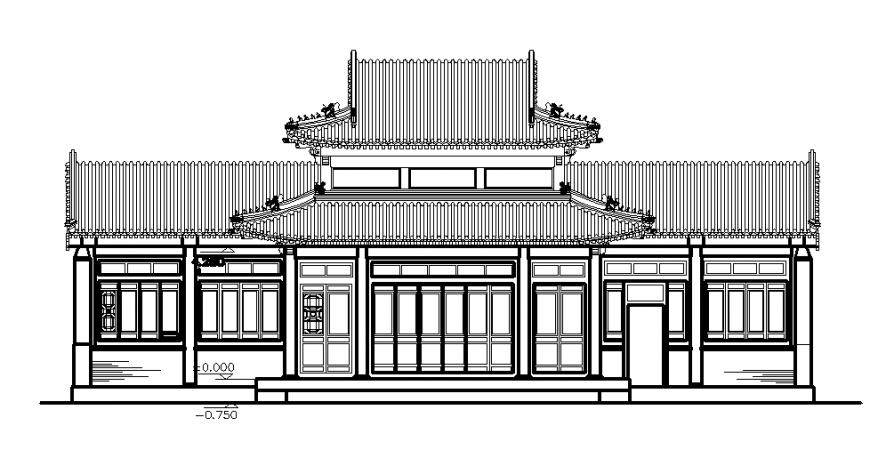A China Temple Court cad elevation detail