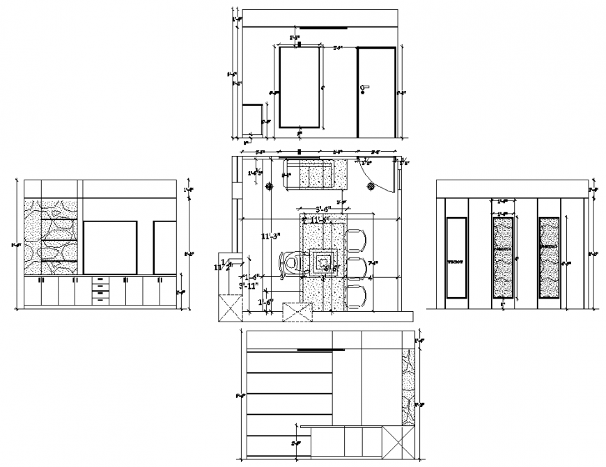 A College main office table plan and elevation autocad file