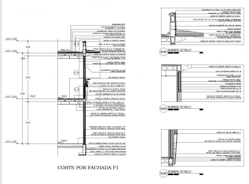 A Column and foundation section plan autocad file