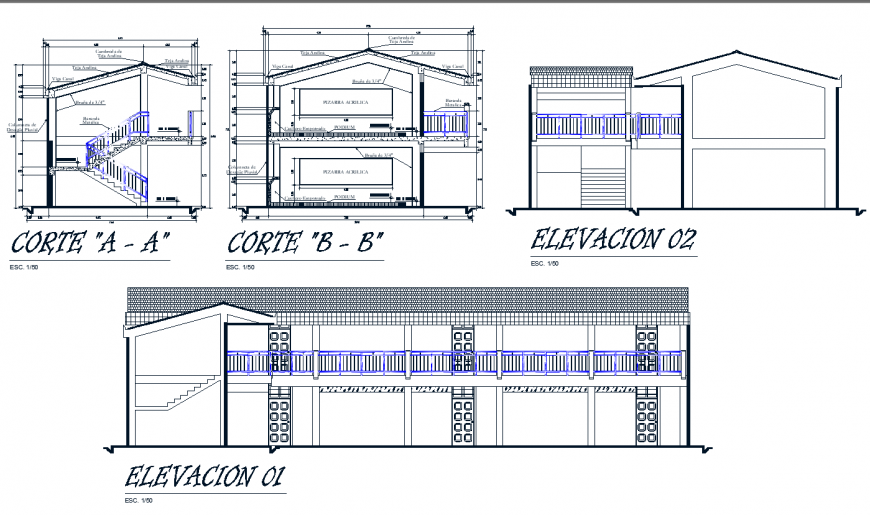 A Elevation and section commercial building plan autocad file