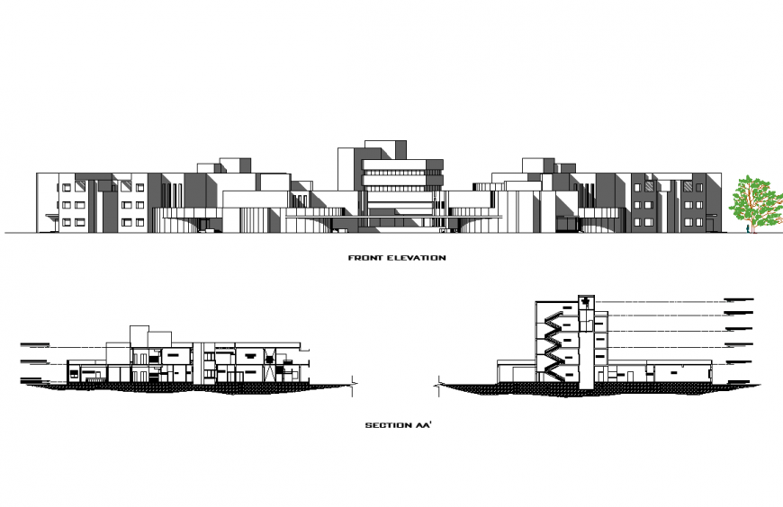 A Elevation and section hospital plan layout file