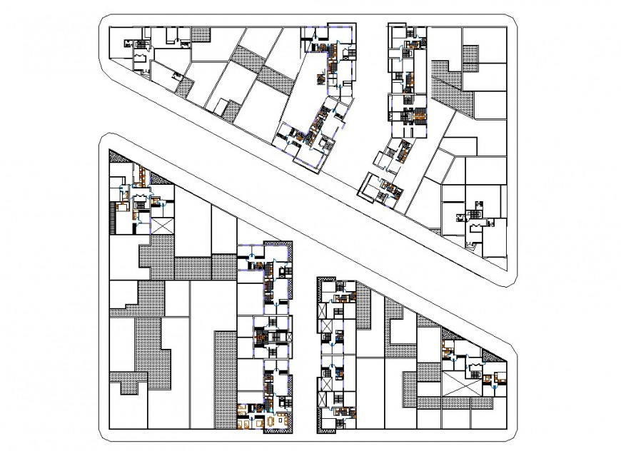 A Hatching commercial building plan layout file