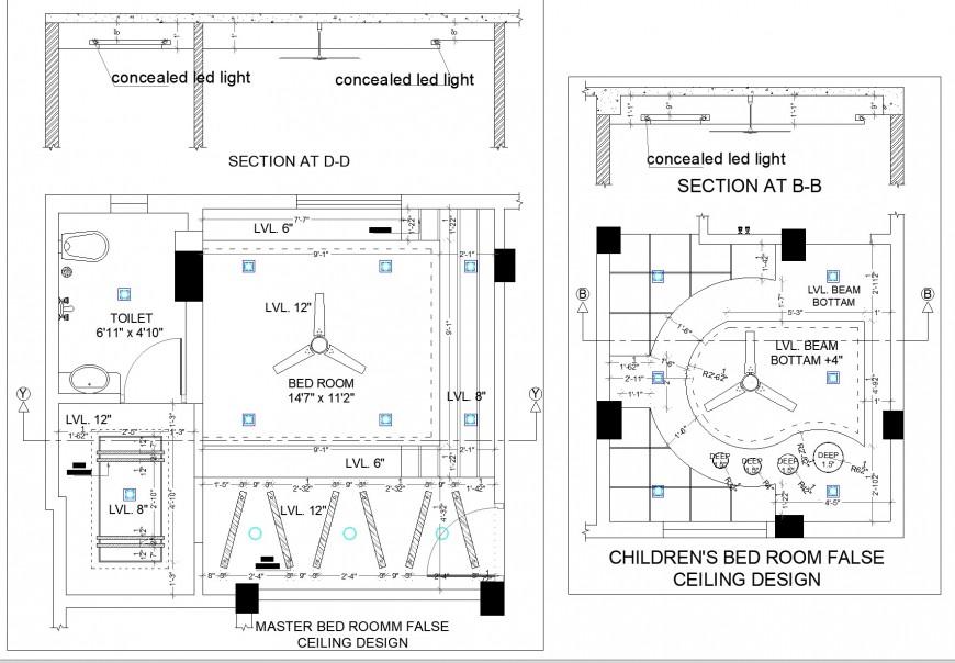 A House design false ceiling detail dwg file