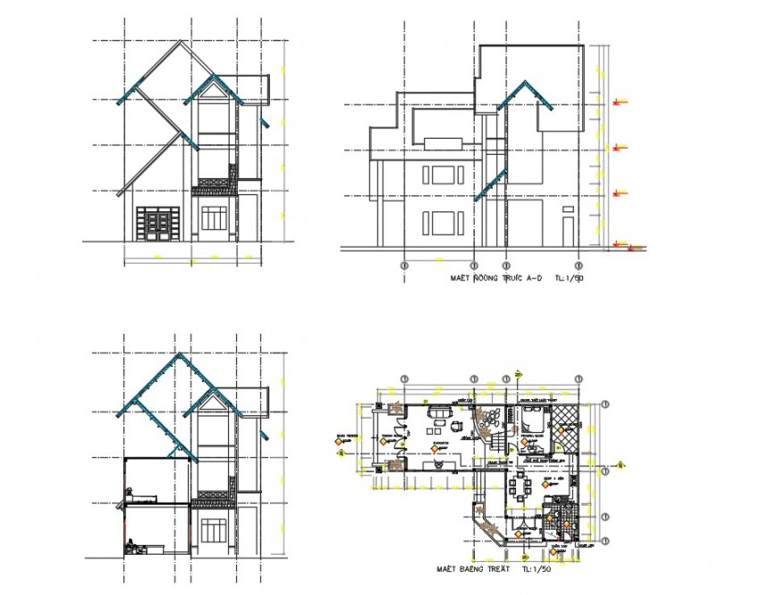 A Housing plan and elevation autocad file