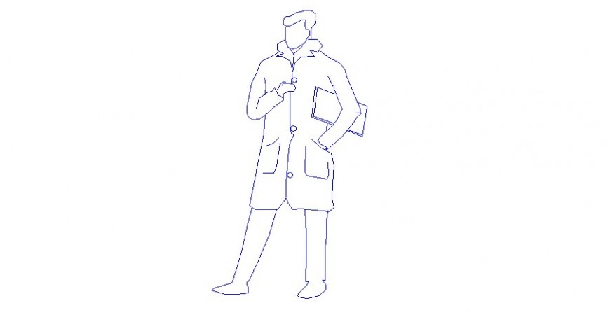 A man in a jacket 2d elevation block cad drawing details dwg file