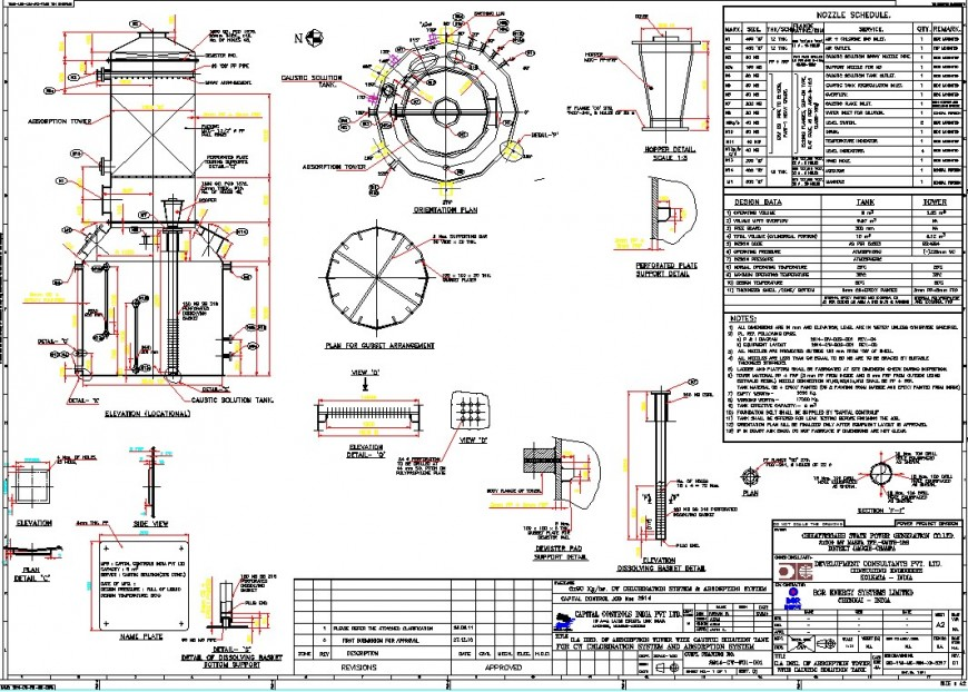 A Plan and section tank detail dwg file