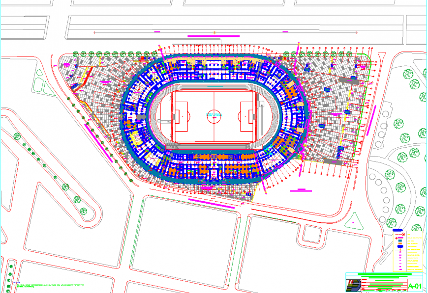 A sport ground plan detail dwg file.