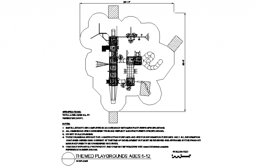 A system of playing design with themed playground plan dwg file
