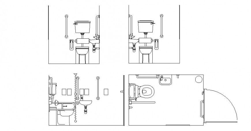 A toilet in disabled people autocad file
