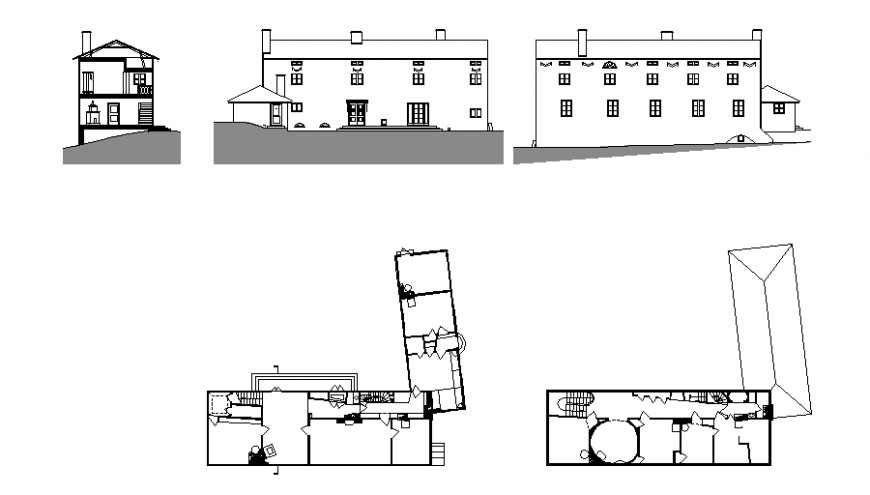 A Villa plan, elevation and section autocad file