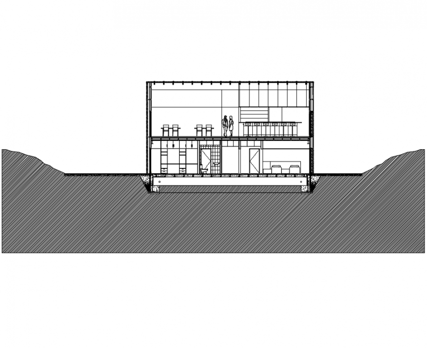 Academic institute building sectional details cad drawing dwg file