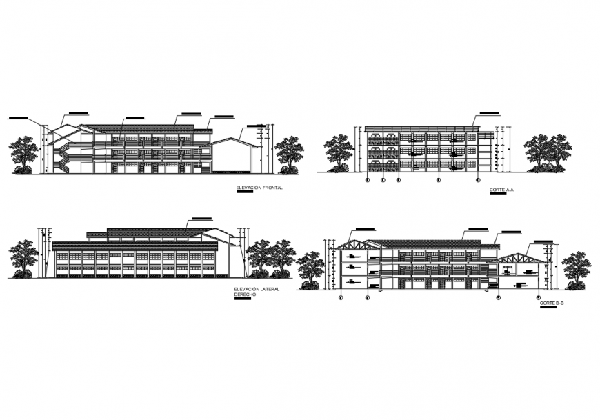 Academic institute college all sided elevation and sectional details dwg file