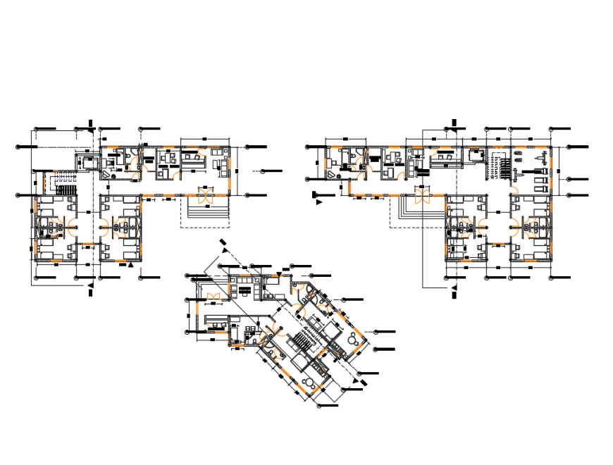 Accommodation hostel building floors plan cad drawing details dwg file